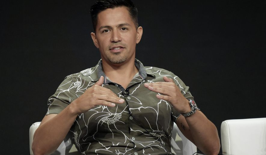 "Jay Hernandez participates in the ""Magnum P.I."" panel during the Television Critics Association Summer Press Tour at the the Beverly Hilton Hotel, Sunday, Aug. 5, 2018, in Beverly Hills, Calif. (Photo by Richard Shotwell/Invision/AP)"