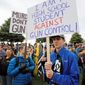 Levi Rodas, 16, and other students at Orem High School in Utah showed his support for gun rights in a rally this year, but gun control rallies at public schools across the nation generate much more attention. (Associated Press/File)