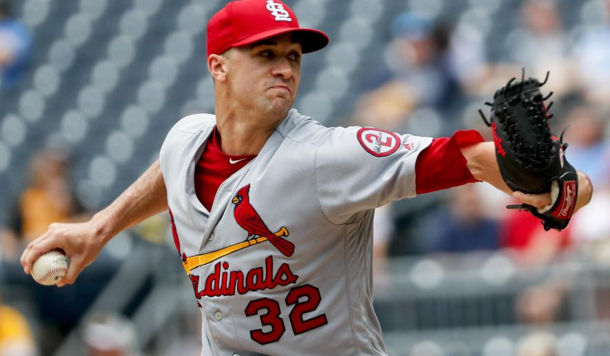 St. Louis Cardinals starter Jack Flaherty pitches against the Pittsburgh Pirates in the first inning of a baseball game, Sunday, Aug. 5, 2018, in Pittsburgh. (AP Photo/Keith Srakocic)