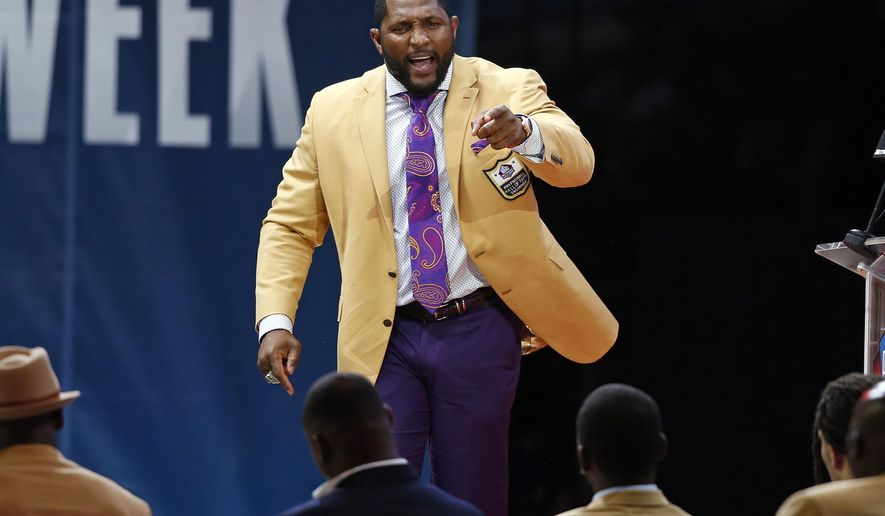 Former NFL player Ray Lewis delivers his speech during an induction ceremony at the Pro Football Hall of Fame, Saturday, Aug. 4, 2018, in Canton, Ohio. (AP Photo/Ron Schwane)
