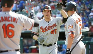 Baltimore Orioles' Mark Trumbo celebrates with teammates after hitting a two-run home run against the Texas Rangers during the seventh inning of a baseball game in Arlington, Texas, Sunday, Aug. 5, 2018. (AP Photo/Cooper Neill)