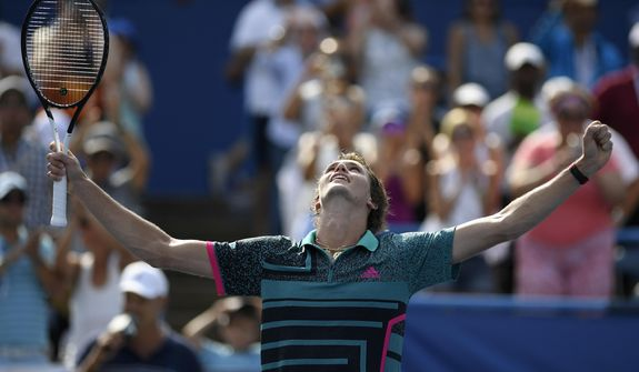 Alexander Zverev, of Germany, celebrates after he won over Alex de Minaur, of Australia, in the men's finals in the Citi Open tennis tournament, Sunday, Aug. 5, 2018, in Washington. (AP Photo/Nick Wass)