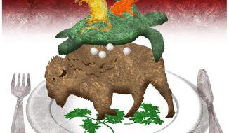 Illustration on eating endangered species by Alexander Hunter/The Washington Times