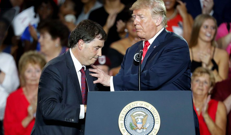 """""""We are going to have a tremendous victory for Troy,"""" said President Trump of Troy Balderson, the Republican nominee running in Ohio's special election. (Associated Press photographs)"""