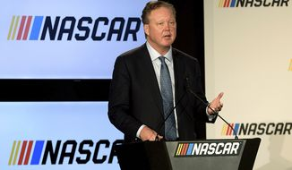 FILE - In this Jan. 23, 2017, file photo, Brian France, Chairman of NASCAR, gives opening remarks prior to an announcement of NASCAR's approach to modernizing its series with a new format, in Charlotte, N.C. NASCAR chairman Brian France has been arrested in New York's Hamptons for driving while intoxicated and criminal possession of oxycodone. France was arrested at 7:30 p.m. Sunday, Aug. 5, 2018, and held overnight. He was arraigned Monday at Sag Harbor Village Justice Court and released. (Jeff Siner/The Charlotte Observer via AP, File)