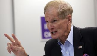 Sen. Bill Nelson, D-Fla., speaks during a roundtable discussion with education leaders from South Florida at the United Teachers of Dade headquarters, Monday, Aug. 6, 2018, in Miami. (AP Photo/Lynne Sladky)