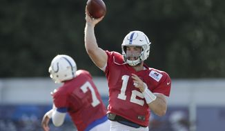 Indianapolis Colts quarterback Andrew Luck (12) throws during practice at the NFL team's football training camp in Westfield, Ind., Monday, Aug. 6, 2018. (AP Photo/Michael Conroy)