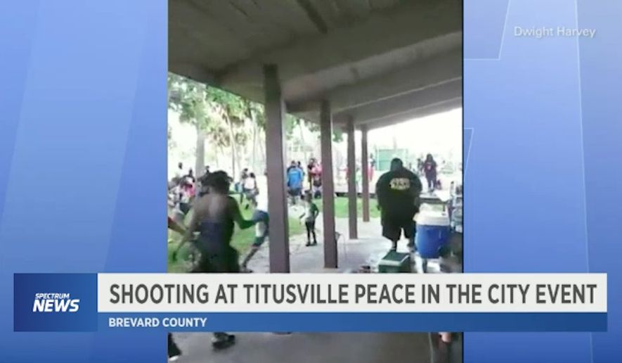"A concealed carrier critically wounded a man who opened fire at a crowded ""peace"" rally in Titusville, Florida, Saturday afternoon, police said. (Spectrum News via Dwight Harvey)"