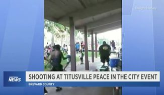 """A concealed carrier critically wounded a man who opened fire at a crowded """"peace"""" rally in Titusville, Florida, Saturday afternoon, police said. (Spectrum News via Dwight Harvey)"""