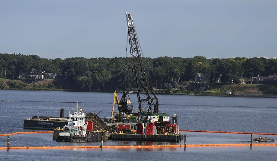 Logging debris are removed from Muskegon Lake as part of the Muskegon Lake AOC Habitat Restoration on Wednesday, Aug. 1, 2018, in Muskegon, Michigan.The project will remove 122,673 tons of mill debris from the lake. (Mike Krebs/Muskegon Chronicle via AP)