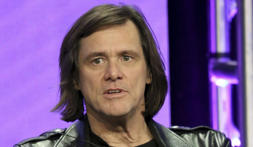 """Jim Carrey participates in the """"Kidding"""" panel during the Showtime Television Critics Association Summer Press Tour at The Beverly Hilton hotel on Thursday, Aug. 2, 2018, in Beverly Hills, Calif. (Photo by Willy Sanjuan/Invision/AP)"""