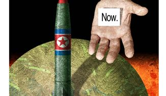 Illustration on an ultimatum to North Korea by Alexander Hunter/The Washington Times