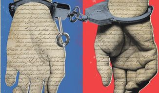 Illustration on charges of political and criminal malfeasance right and left by Linas Garsys/The Washington Times