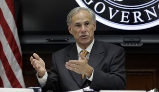 In this June 6, 2018, file photo, Texas Gov. Greg Abbott speaks to fellow state officials and media in Austin, Texas. Abbott on Tuesday, Aug. 7, 2018, pulled down a tweet after being mocked on social media for sharing a widely debunked quote attributed to Winston Churchill about fascism. (AP Photo/Eric Gay, File)