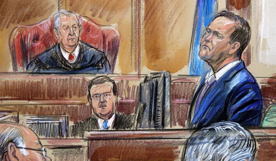 This courtroom sketch depicts Rick Gates on the witness stand as he is cross examined by defense lawyer Kevin Downing during the trial of former Donald Trump campaign chairman Paul Manafort on bank fraud and tax evasion at federal court in Alexandria, Va., Tuesday, Aug. 7, 2018. U.S. District court Judge T.S. Ellis III presides. (Dana Verkouteren via AP)