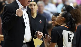 FILE - In this Sunday, Aug. 5, 2018, file photo, Las Vegas Aces head coach Bill Laimbeer, left, offers his opinion on a call to official Fatou Cissoko-Stevens during the first half of WNBA basketball game action against the Connecticut Sun in Uncasville, Conn. The WNBA has ruled that Las Vegas will forfeit its game against Washington that was canceled Friday night, Aug. 4, 20018,  when the Aces players decided not to play because of concerns about their health and safety after 26 hours of travel.(Sean D. Elliot/The Day via AP, File)