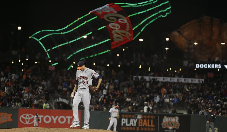 Houston Astros starting pitcher Charlie Morton stands on the mound after giving up a home run to the San Francisco Giants' Brandon Crawford in the sixth inning of a baseball game Monday, Aug. 6, 2018, in San Francisco. (AP Photo/Eric Risberg)