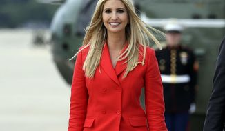 In this July 31, 2018, photo, Ivanka Trump, the daughter of President Donald Trump walks o board Air Force One with President Donald Trump for a trip to Tampa, Fla., to attend a campaign rally at Andrews Air Force Base, Md. Ivanka Trump plans to promote worker training in Illinois this week. She will participate in a round-table discussion Wednesday, Aug. 8, at Lewis and Clark Community College in Godfrey, her second recent visit to the region. (AP Photo/Evan Vucci)