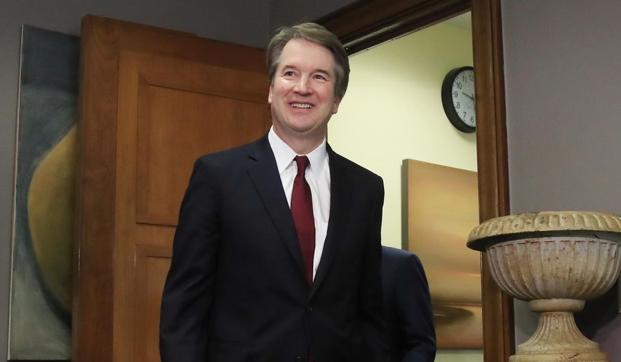In this July 19, 2018, file photo, Supreme Court nominee Brett Kavanaugh arrives for a meeting with Sen. Sen. Bob Corker, R-Tenn., on Capitol Hill in Washington. (AP Photo/Manuel Balce Ceneta, File)