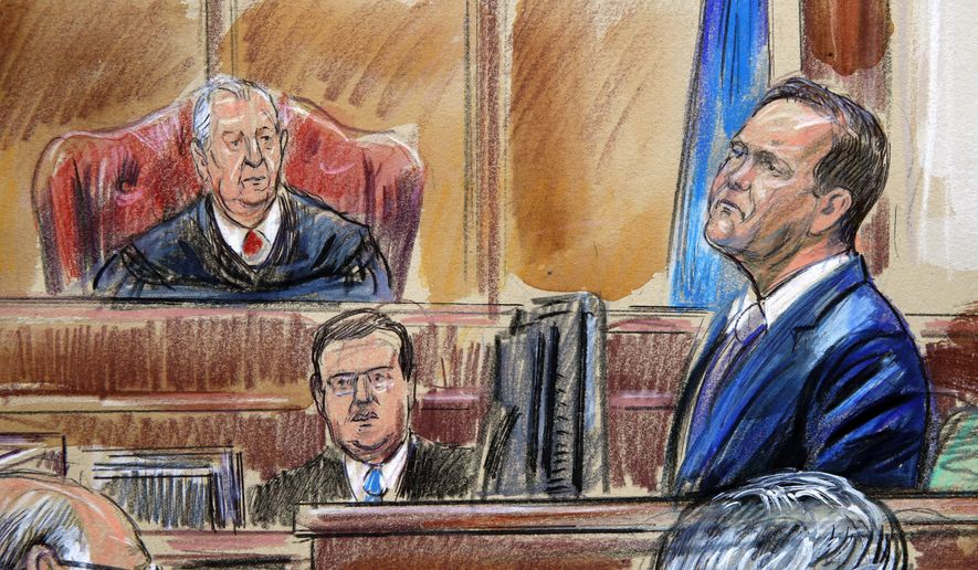 This courtroom sketch depicts Rick Gates on the witness stand as he is cross examined by defense lawyer Kevin Downing during the trial of former Donald Trump campaign chairman Paul Manafort on bank fraud and tax evasion at federal court in Alexandria, Va., Tuesday, Aug. 7, 2018. U.S. District court Judge T.S. Ellis III presides. (Dana Verkouteren via AP) ** FILE **