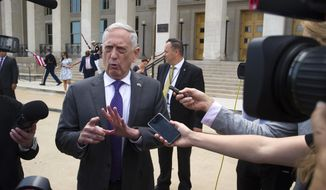 Secretary of Defense Jim Mattis speaks with reporters before welcoming UK Secretary of State for Defense Gavin Williamson to the Pentagon for meetings, Tuesday, Aug. 7, 2018. (AP Photo/Cliff Owen)