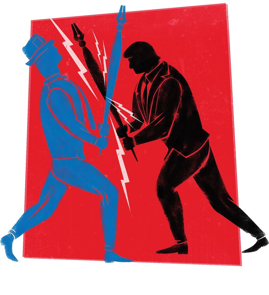 Illustration on Trump clashes with the media by Linas Garsys/The Washington Times