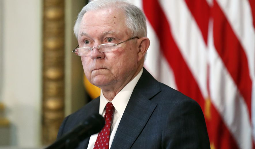 Attorney General Jeff Sessions pauses while speaking during a meeting of the Federal Commission on School Safety in the Indian Treaty Room of the Eisenhower Executive Office Building, Thursday, July 26, 2018, in Washington. (AP Photo/Alex Brandon)