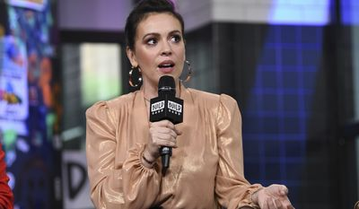 """Actress Alyssa Milano participates in the BUILD Speaker Series to discuss the new Netflix original series """"Insatiable"""" at AOL Studios on Tuesday, Aug. 7, 2018, in New York. (Photo by Evan Agostini/Invision/AP)"""