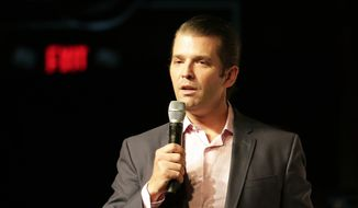 In this July 18, 2018, file photo Donald Trump Jr. speaks at a rally for Florida gubernatorial candidate Rep. Ron DeSantis in Orlando, Fla. (AP Photo/John Raoux, File)