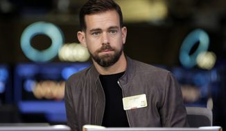 """This Nov. 19, 2015, file photo shows Square CEO and Twitter CEO Jack Dorsey being interviewed on the floor of the New York Stock Exchange. In a series of tweets late Tuesday, Aug. 7, 2018, Dorsey defended Twitter's decision not to ban right-wing conspiracy theorist Alex Jones and his """"Infowars"""" show, as many other social media platforms have done, saying he did not break any rules. (AP Photo/Richard Drew, File)"""