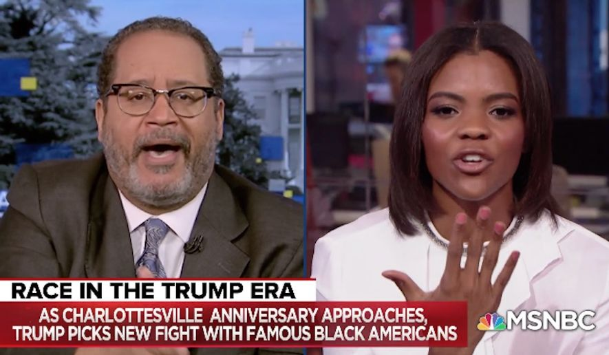 "Georgetown University professor and MSNBC political analyst Michael Eric Dyson apologized to conservative activist Candace Owens after he dismissed her as ""little girl"" during a heated on-air exchange Tuesday night. (MSNBC)"