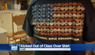 The Lodi Unified School District in California is taking steps to re-educate teachers on its student dress code after two sophomores were reportedly kicked out of their history class for wearing National Rifle Association T-shirts. (CBS 13 Sacramento)