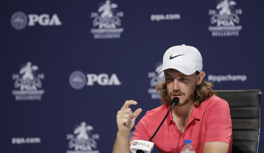 Tommy Fleetwood, of England, responds to a question during a news conference at the PGA Championship golf tournament at Bellerive Country Club, Wednesday, Aug. 8, 2018, in St. Louis. (AP Photo/Darron Cummings)