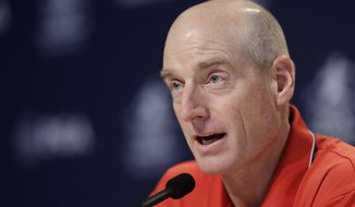 Jim Furyk responds to a question during a news conference at the PGA Championship golf tournament at Bellerive Country Club, Wednesday, Aug. 8, 2018, in St. Louis. (AP Photo/Darron Cummings)