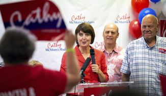 Cathy McMorris Rodgers prepares to give a speech after receiving the news that she took the edge over Lisa Brown for Fifth House District in the Washington state primary election during the Spokane County Republican Party's election night party, Tuesday, Aug. 7, 2018, in Spokane, Wash. (Libby Kamrowski/The Spokesman-Review via AP)