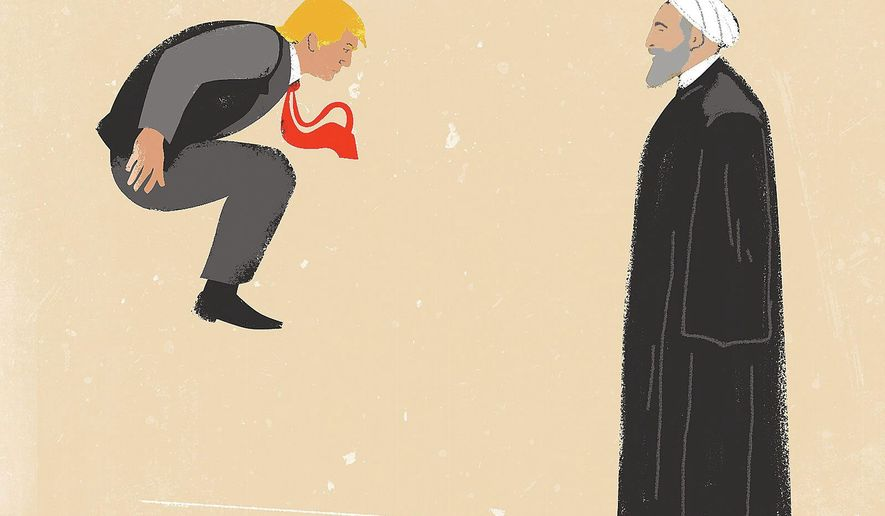 Illustration on Trump and iran by Linas Garsys/The Washington Times