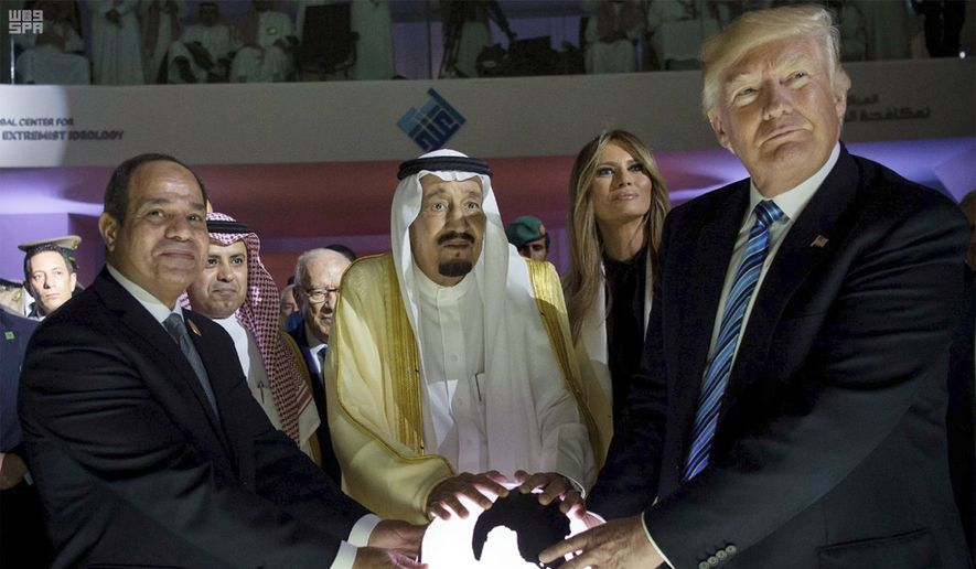 In this May 21, 2017, file photo released by the Saudi Press Agency, from left to right: Egyptian President Abdel Fattah al-Sissi; Saudi King Salman; U.S. first lady Melania Trump; and President Donald Trump; visit the Global Center for Combating Extremist Ideology, in Riyadh, Saudi Arabia. Six months into his presidency, Donald Trump has made clear who he considers to be his friends, and his foes, on the international stage. (Saudi Press Agency via AP, File)