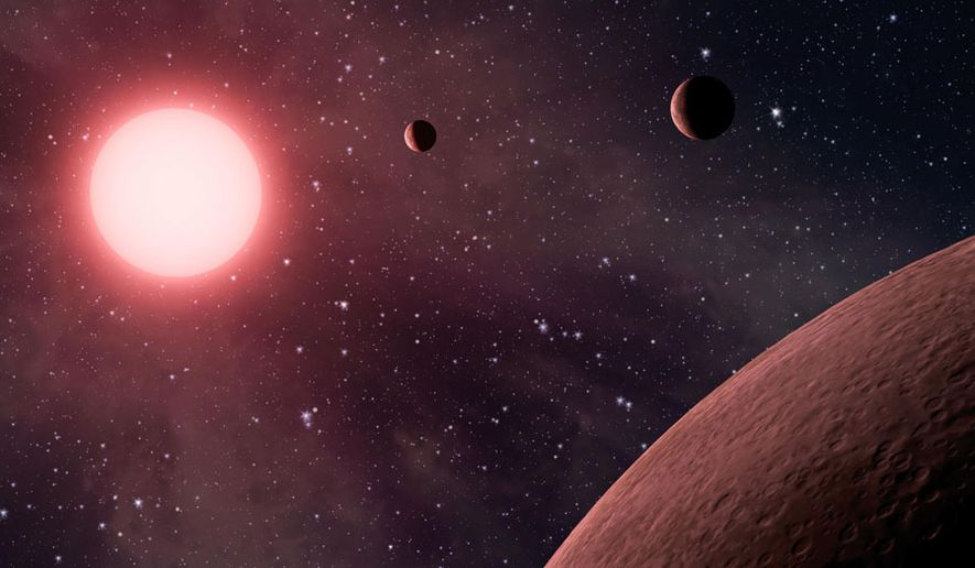"""This artist rendering provided by NASA/JPL-Caltech shows some of the 219 new planet candidates, 10 of which are near-Earth size and in the habitable zone of their star identified by NASA's Kepler space telescope. NASA says its planet-hunting telescope has found 10 new planets outside our solar system that are likely the right size and temperature to potentially have life on them. As the Kepler telescope finished its main mission, NASA announced Monday that it has seen a total of 49 planets in the """"Goldilocks Zone"""" for possible life. And they only looked in a tiny part of the galaxy. (NASA/JPL-Caltech via AP) ** FILE **"""