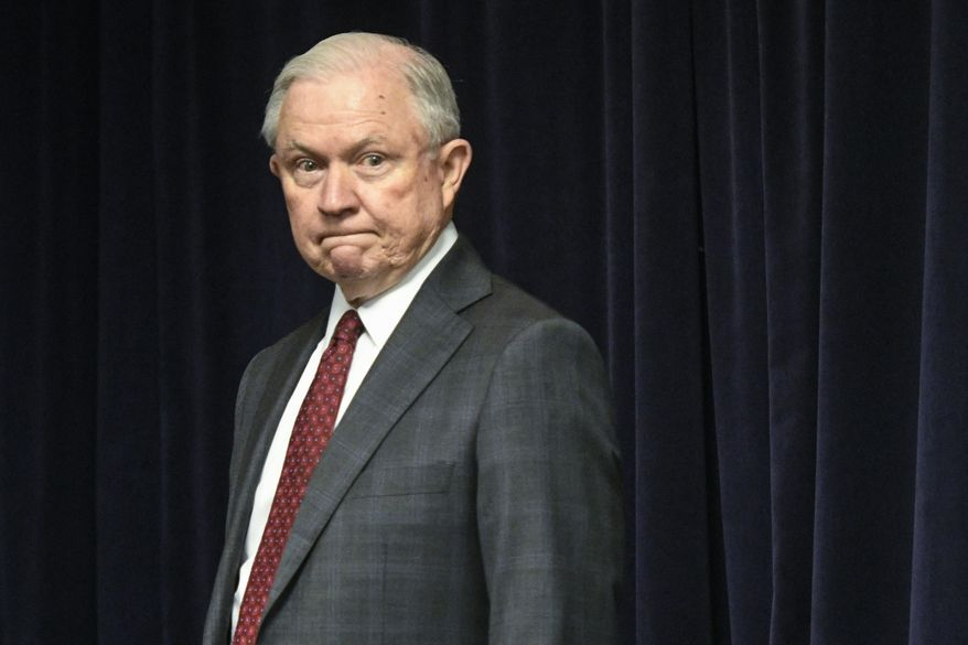 Attorney General Jeff Sessions is pictured before delivering remarks on efforts to combat violent crime in America during an appearance at the United States Attorney's Office for the Middle District of Georgia on Thursday August 9, 2018, in Macon, Ga. (AP Photo/John Amis)