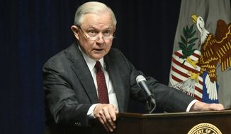 Attorney General Jeff Sessions is pictured delivering remarks on efforts to combat violent crime in America during an appearance at the United States Attorney's Office for the Middle District of Georgia on Thursday, Aug. 9, 2018, in Macon, Ga. (AP Photo/John Amis) ** FILE **