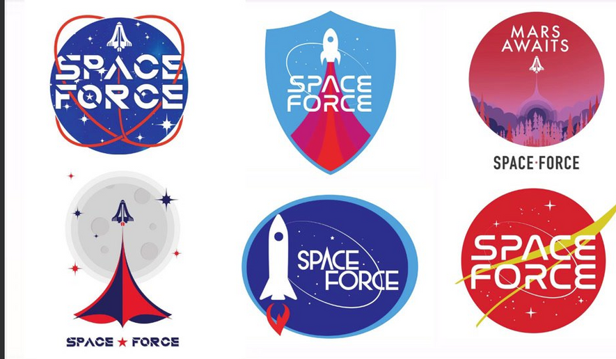 d069741a3 Space Force images on T-shirts, coffee mugs, hats and other merchandise have