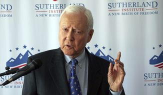 U.S. Sen. Orrin Hatch discusses Supreme Court nominee Brett Kavanaugh during a speech hosted by the Sutherland Institute, Thursday, Aug. 9, 2018, in Salt Lake City. (AP Photo/Rick Bowmer)