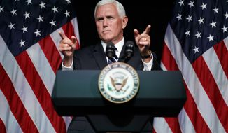 Vice President Mike Pence, speaking Thursday at the Pentagon, announced plans to create a U.S, Space Force to ensure American dominance in space amid heightened completion and threats from China and Russia.  (Associated Press)