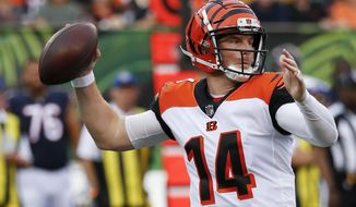 Cincinnati Bengals quarterback Andy Dalton throws during the first half of the team's NFL preseason football game against the Chicago Bears, Thursday, Aug. 9, 2018, in Cincinnati. (AP Photo/Frank Victores)