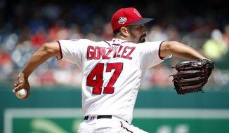 Washington Nationals starting pitcher Gio Gonzalez throws during the fifth inning of a baseball game against the Atlanta Braves at Nationals Park, Thursday, Aug. 9, 2018, in Washington. (AP Photo/Alex Brandon)