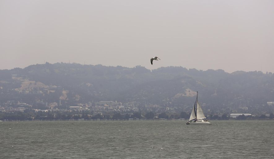 The city of Berkeley, Calif., sits in a dull, smoky haze Wednesday, Aug. 8, 2018. The air quality has hit unhealthy levels in cities miles away as California's largest wildfire ever burns to the north.  (AP Photo/Lorin Eleni Gill)
