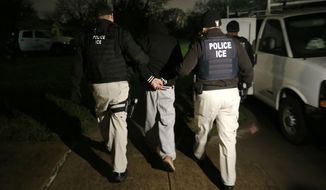 """Authorities say Brandon Ziobrowski, who's 33 years old, tweeted last month to his more than 400 followers, """"I am broke but will scrounge and literally give $500 to anyone who kills an ICE agent.""""  (Associated Press)"""