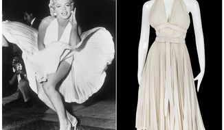 "This combination photo shows actress Marilyn Monroe posing over the updraft of a New York subway grate while filming ""The Seven Year Itch"" New York, left, and the dress she is wearing on a mannequin. The dress, created by Bill Travilla, is one of several items that will be up for auction in October 2018.  (AP Photo/Profiles in History)"