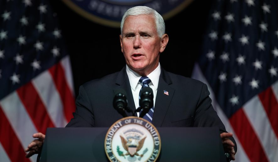 Vice President Mike Pence speaks during an event on the creation of a United States Space Force, Thursday, Aug. 9, 2018, at the Pentagon.  Pence says the time has come to establish a new United States Space Force to ensure America's dominance in space amid heightened completion and threats from China and Russia.  (AP Photo/Evan Vucci) **FILE**