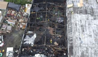 FILE - This undated file photo provided by the City of Oakland shows inside the burned warehouse after the deadly fire that broke out on Dec. 2, 2016, in Oakland, Calif. Two men who pleaded no contest to 36 charges of involuntary manslaughter will face the family members of those who died in a fire at an illegally converted Northern California warehouse. A two-day sentencing hearing for Derick Almena and Max Harris is scheduled to begin Thursday, Aug. 9, 2018, in Oakland. (City of Oakland via AP, File)